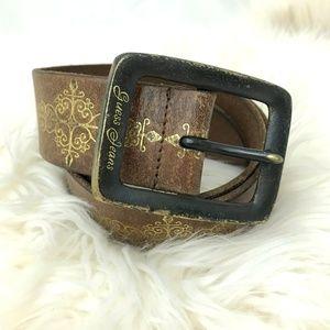 Vtg Guess Jeans boho leather belt gold trim brown